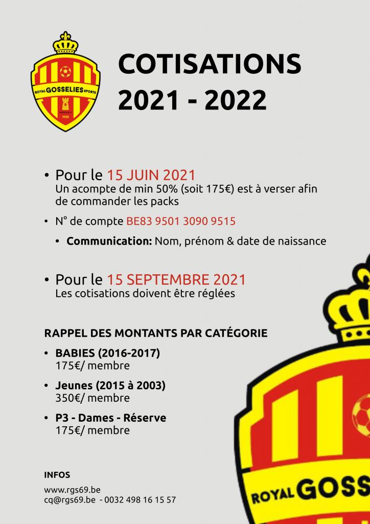 Cotisations 2021 – 2022